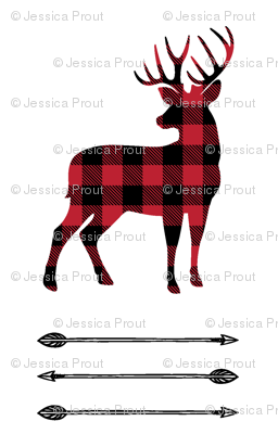 (small scale) buffalo plaid buck with arrow stack