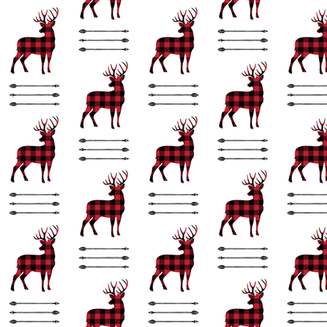 (small scale) buffalo plaid buck with arrow stack fabric by littlearrowdesign on Spoonflower - custom fabric