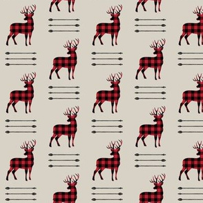 (small scale) buffalo plaid buck with arrow stack (beige)