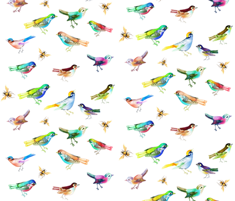 Songbirds and Bees on White, Large fabric by thistleandfox on Spoonflower - custom fabric