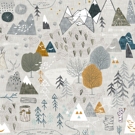 Max's Map (grey) SMALL fabric by nouveau_bohemian on Spoonflower - custom fabric