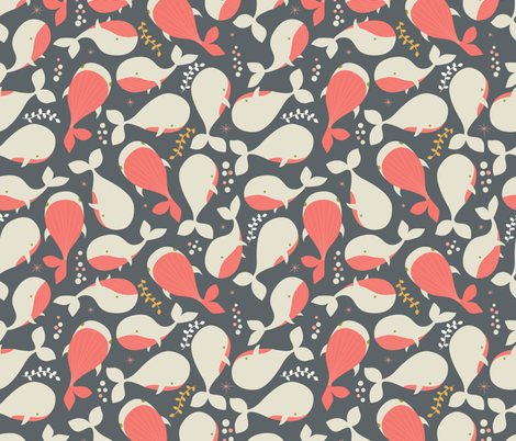 White whales fabric by bluelela on Spoonflower - custom fabric