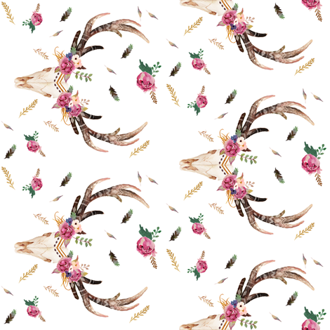 "4"" Half-Drop Repeat / 90 degrees AZTEC BEAUTY FLORAL FREE fabric by shopcabin on Spoonflower - custom fabric"