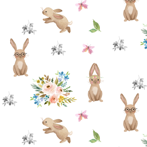 "6"" Spring Time Fun Bunnies / White fabric by shopcabin on Spoonflower - custom fabric"