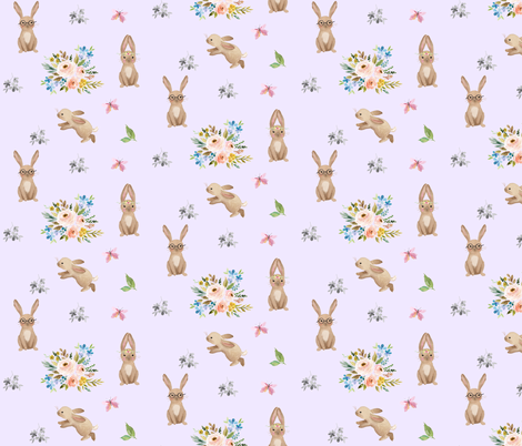 Spring Time Fun Bunnies / Lilac fabric by shopcabin on Spoonflower - custom fabric