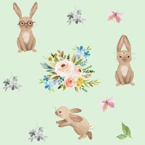 Spring Time Fun Bunnies / Minty Green