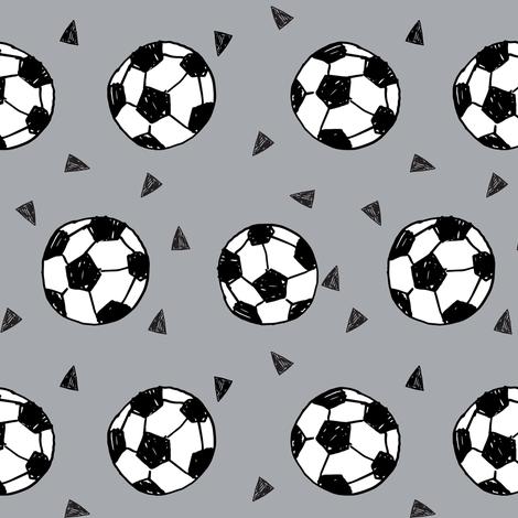 soccer fabric // grey soccer football fabric boys sports design fabric by andrea_lauren on Spoonflower - custom fabric