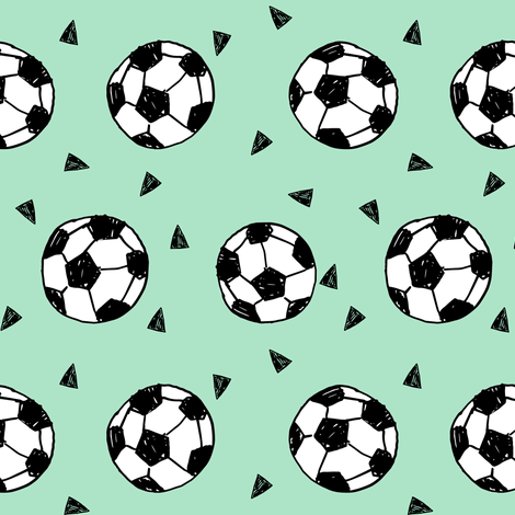 soccer fabric // mint green soccer football fabric boys sports fabric girls sports  fabric by andrea_lauren on Spoonflower - custom fabric