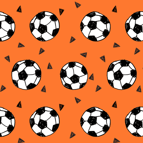 soccer fabric // orange soccer balls fabric football fabric sports play fabric fabric by andrea_lauren on Spoonflower - custom fabric
