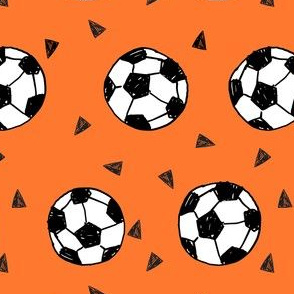 soccer fabric // orange soccer balls fabric football fabric sports play fabric