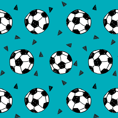 soccer fabric // teal blue soccer ball fabric football fabric kids sports fabrc fabric by andrea_lauren on Spoonflower - custom fabric