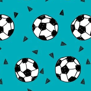 soccer fabric // teal blue soccer ball fabric football fabric kids sports fabrc