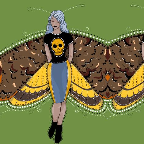 Death's head moth fairy fabric by beesocks on Spoonflower - custom fabric
