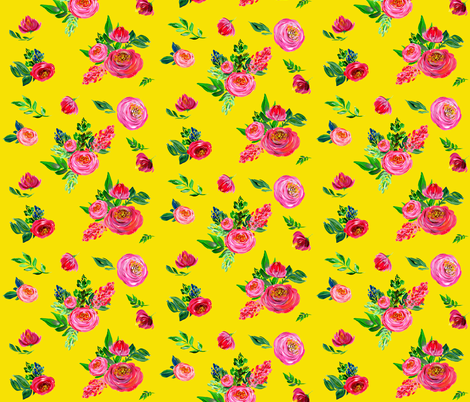 Pink Summer / Bright Yellow fabric by shopcabin on Spoonflower - custom fabric
