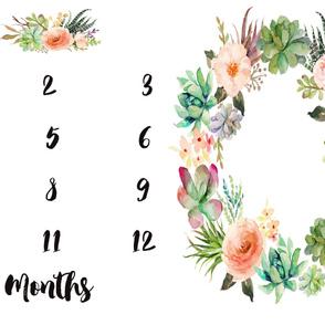 Succulent Florals Baby Milestone Blanket