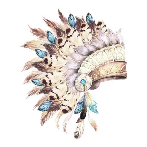 Tan & Aqua Headdress / White fabric by shopcabin on Spoonflower - custom fabric