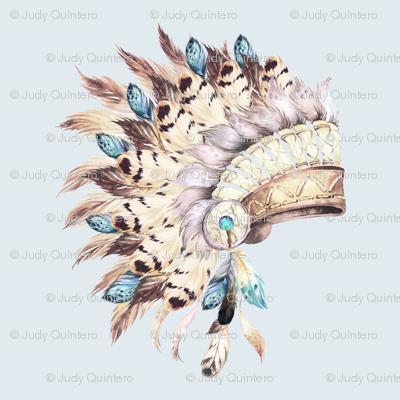 Tan & Aqua Headdress / Light Blue