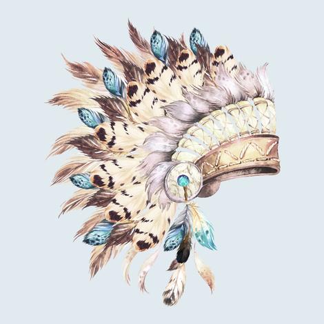 Tan & Aqua Headdress / Light Blue fabric by shopcabin on Spoonflower - custom fabric