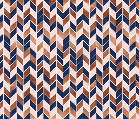 chevrons rose gold pink navy blue fabric fabric by charlottewinter on Spoonflower - custom fabric
