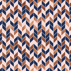 chevrons rose gold pink navy blue fabric