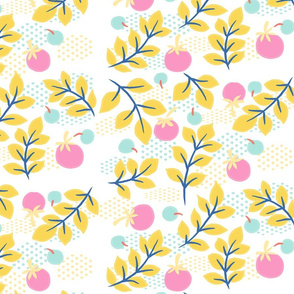 Yellow Leaves and Pink Tomatoes