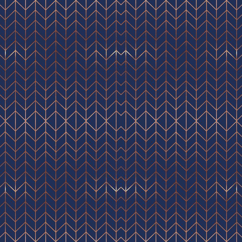 Navy Blue Chevron Fabric Rose Gold Metallic Effect Fabric