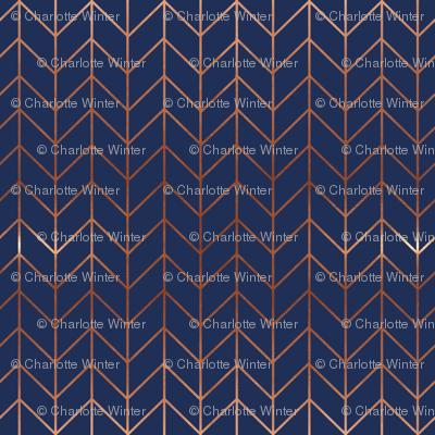 navy blue chevron fabric rose gold metallic effect