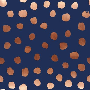 rose gold navy fabric dots painted dot fabric