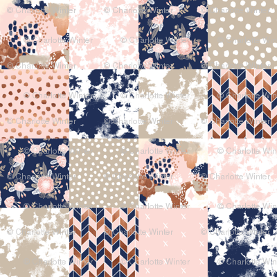 Cheater Quilt Sonia Squares Patchwork Fabric Rose Gold