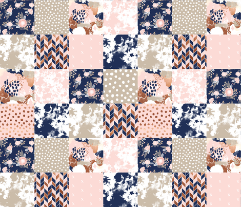 cheater quilt sonia squares patchwork fabric rose gold navy and blush pink fabric fabric by charlottewinter on Spoonflower - custom fabric