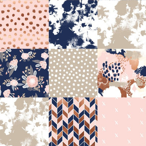 cheater quilt sonia squares patchwork fabric rose gold navy and blush pink fabric