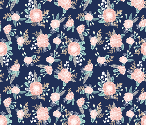 florals - navy blue, blush pink, taupe fabric fabric by charlottewinter on Spoonflower - custom fabric