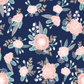 florals - navy blue, blush pink, taupe fabric