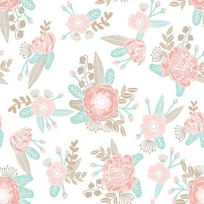 soft neutral pink and taupe florals fabric