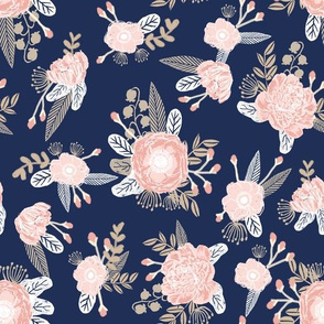 florals navy and blush pink fabric floral design