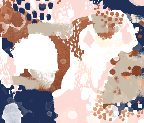 sonia abstract fabric painted rose gold blush pink and navy fabric fabric by charlottewinter on Spoonflower - custom fabric
