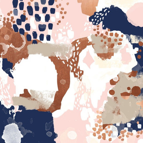 sonia abstract fabric painted rose gold blush pink and navy fabric