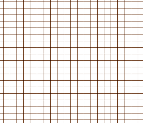 "chocolate brown windowpane grid 1"" square check graph paper fabric by misstiina on Spoonflower - custom fabric"