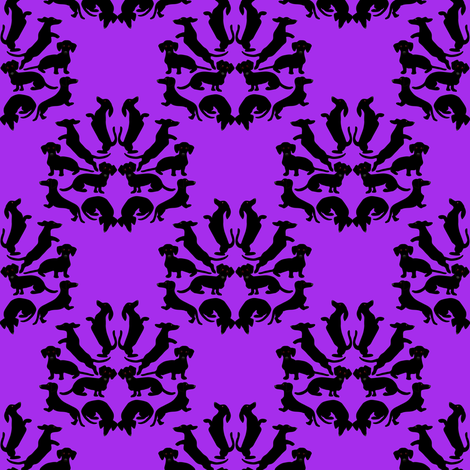 Custom Doxie Damask Black on Purple fabric by eclectic_house on Spoonflower - custom fabric