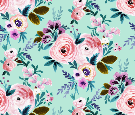 Victorian Floral Mint fabric by crystal_walen on Spoonflower - custom fabric