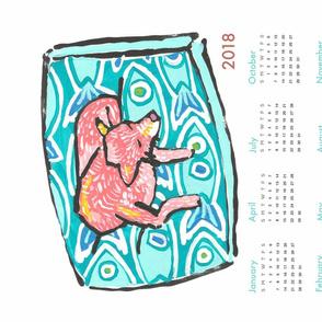 pup nap 1 : 2018 calendar tea towel