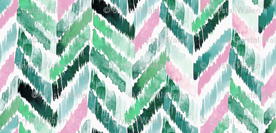 Tropical Ikat Emerald-Pink