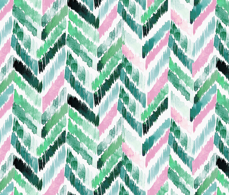 Tropical Ikat Emerald-Pink fabric by crystal_walen on Spoonflower - custom fabric