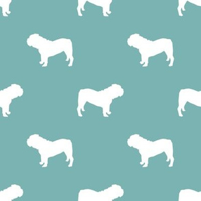 English Bulldog silhouette dog fabric gulf