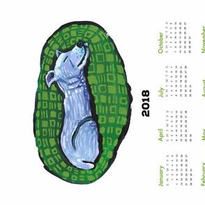 pup nap 8 : 2018 calendar tea towel