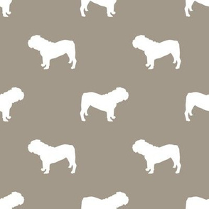 English Bulldog silhouette dog fabric medium brown