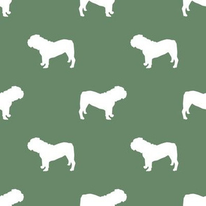 English Bulldog silhouette dog fabric medium green