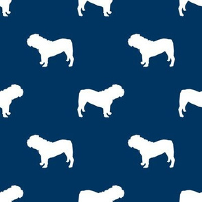 English Bulldog silhouette dog fabric navy