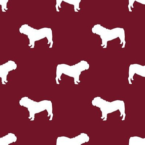 English Bulldog silhouette dog fabric ruby