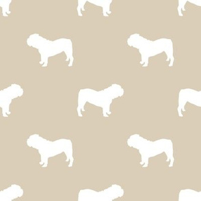 English Bulldog silhouette dog fabric sand